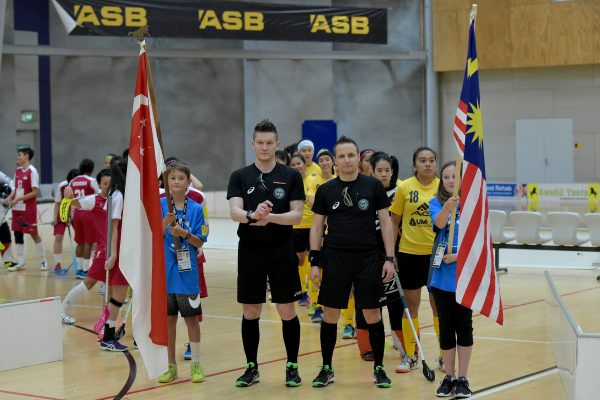 World Floorball Championships 2017 Qualification for Asia-Oceania Region - Malaysia v Singapore at ASB Sports Centre , Wellington, New Zealand on Thursday 2 February 2017.